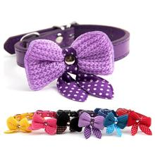 Pet Dog Necklace Collar Adjustable Cat Cute Bow Pooch Bell Small For Neck Collars 6 Colors S M
