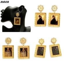 Знаменитая картина маслом ювелирные изделия Европа художника дизайн Висячие серьги для женщин девочек классические золотые металлические винтажные аксессуары Brincos