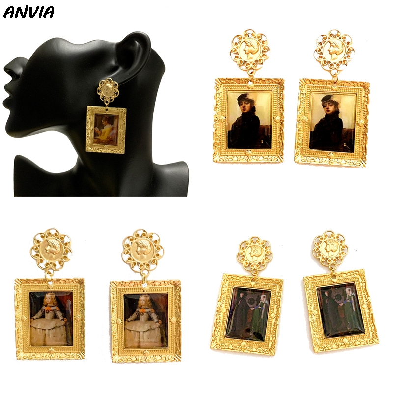 Famous Oil Painting Jewelry Europe Artist Design Drop Earrings Women Girls Classic Gold Metal Vintage Accessories Brincos 2019