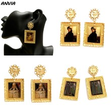 Famous Oil Painting Jewelry Europe Artist Design Drop Earrings Women Girls Classic Gold Metal Vintage Accessories Brincos 2019(China)