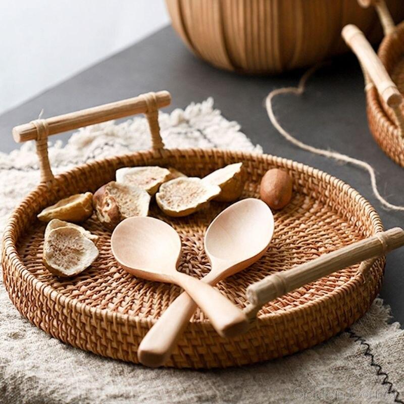 Круглая плетеная корзина для хранения фруктов, поднос ручной работы из ротанга с деревянной ручкой, Классический поднос для хлеба Au10 20, Прямая поставка-3