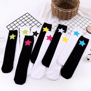 Image 3 - Baby Grils Star Love Knee High Socks Football Stripes Cotton School White Black Socks Skate Children Long Tube Leg Warm 1.3kg#43