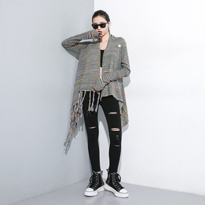 Image 3 - [EAM] High Waist Black Slim Trousers New Loose Fit Pencil Pants Women Fashion Tide All match Spring Autumn 2020 1A698
