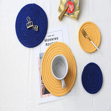 Hand-woven Japanese cotton mat, cup dish thick heat insulation Nordic simple and hemp mat