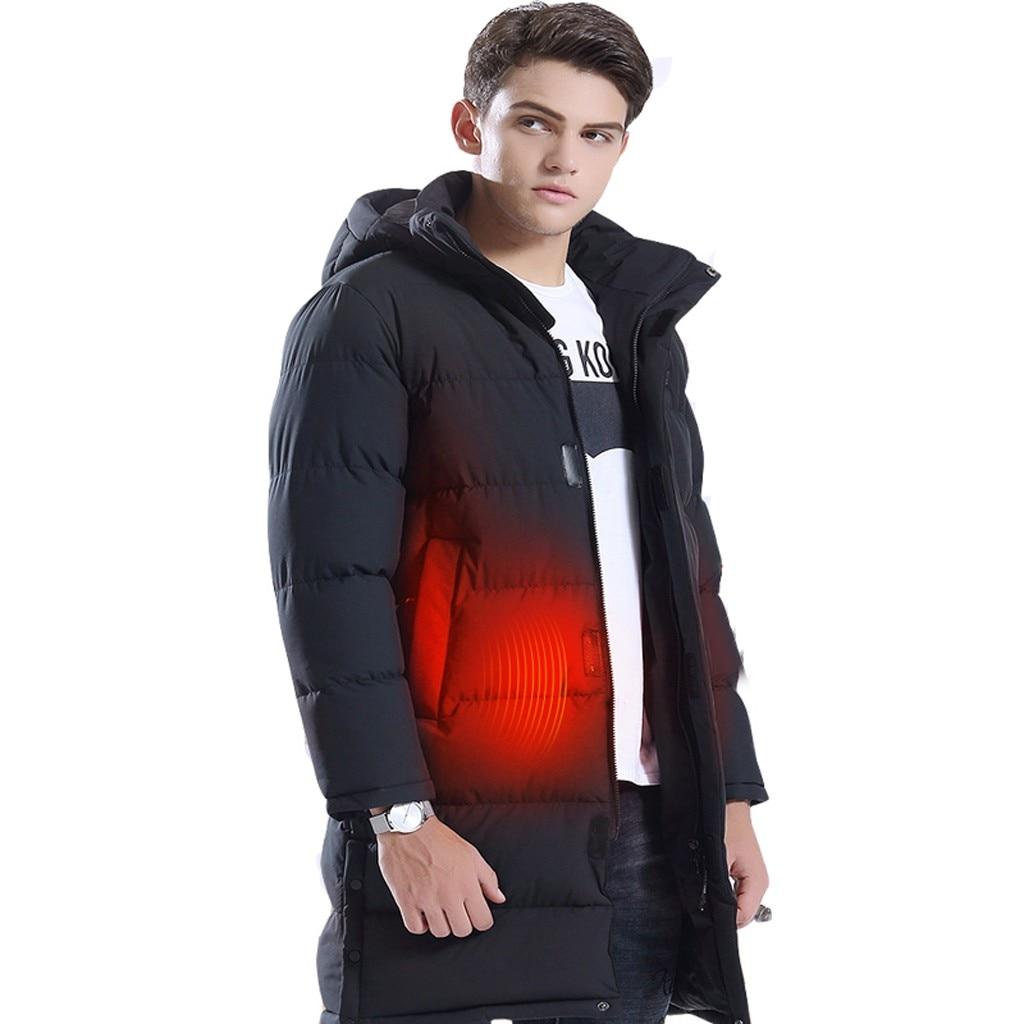 Tide Smart USB куртка с электрическим подогревом для мужчин Высокое качество сплошной черный теплый пуховик на молнии мужской топ с капюшоном толстое длинное пальто - 4