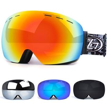 цена на Men Women Ski Glasses Double Layers UV Anti-fog Big Ski Mask Glasses Lens Skiing Snow Snowboard Goggles Ski Eyewear Kids YJ200