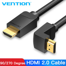 Vention Kabel HDMI 4K HDMI 2.0 Kabel HDMI 90/270 Derajat Sudut Adaptor untuk Apple TV PS4 Splitter Audio Video 90 Derajat Kabel HDMI(China)