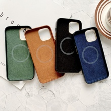 Soft Leather Back Case for iPhone 12 Pro Max Luxury Phone Cover for iPhone 12 Mini MagSafing  Support wireless charging