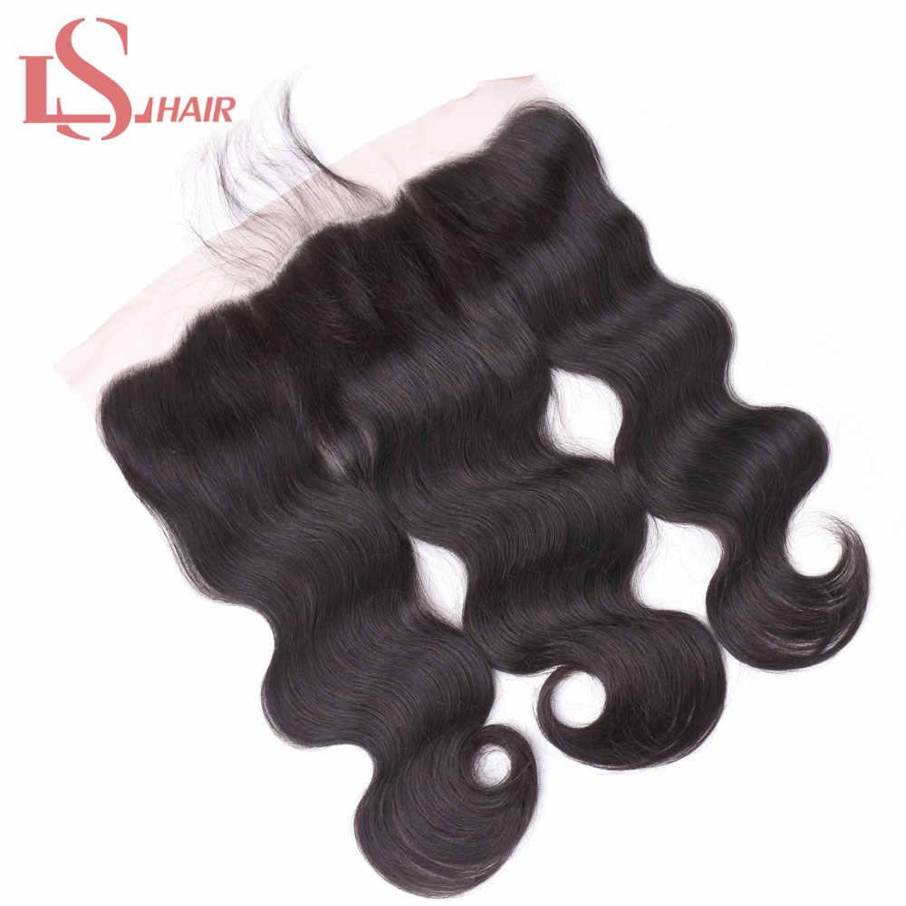 """LS cabello indio onda de agua Cierre de encaje 4*4 medio/tres/parte libre con cabello de bebé nudos blanqueados Remy extensiones de cabello humano 8-22"""""""