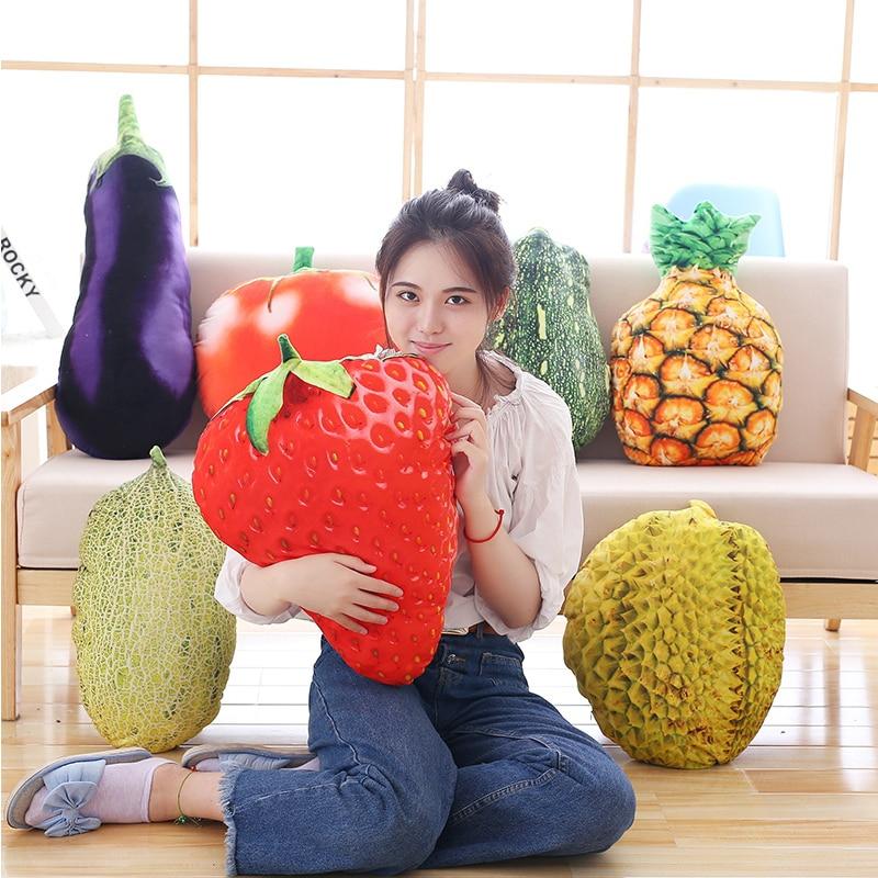 Lifelike Fruits Plush Toy Stuff Fruit Pillow Strawberry Pineapple Durian Hami Melon Eggplant Carrot Decorative Toy Throw Pillow