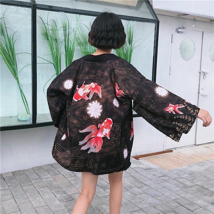 Goldfish Print Kimono Cardigan Outerwear Sunscreen Blouse Harajuku Asia Japanese Traditional Yukata Women Kimono Cosplay Costume