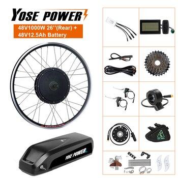Kit de conversión de bicicleta eléctrica con batería, 48V, 12,5ah, 1000W, rueda trasera sin escobillas, Motor de cubo sin engranaje para bicicleta eléctrica