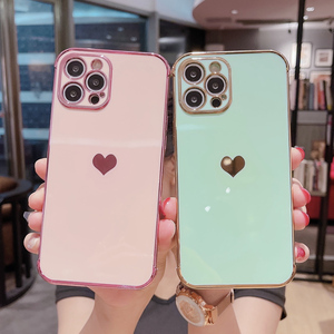 Image 3 - Phone Case For iPhone 12 Mini 11 Pro X XR XS Max 7 8 Plus SE 2 Luxury Cute Side Pattern Electroplated Love Heart Soft TPU Case