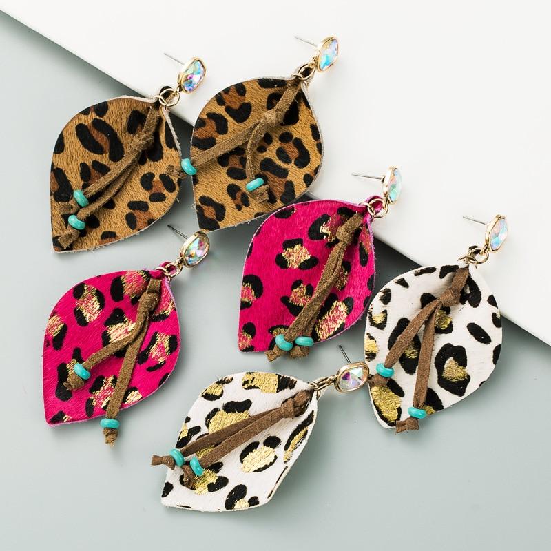 Geometric PU Leather Horse Hair Leopard Print Tassels Gold Plated Inlay