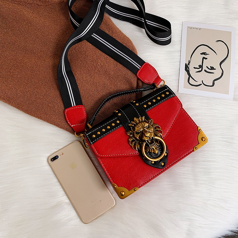 H7068dede46694c678235e6e0ed08f0221 - Female Fashion Handbags Popular Girls Crossbody Bags Totes Woman Metal Lion Head  Shoulder Purse Mini Square Messenger Bag