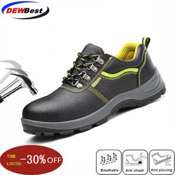 large size men fashion breathable steel toe caps working safety shoes cow leather anti-pierce builder dress security boots male