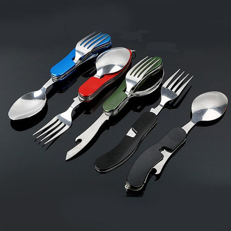 Knife Tableware Spoon Fork Utensil-Bottle Fold-Spork Multi-Tool Picnic Camp Cutlery Can-Opener title=