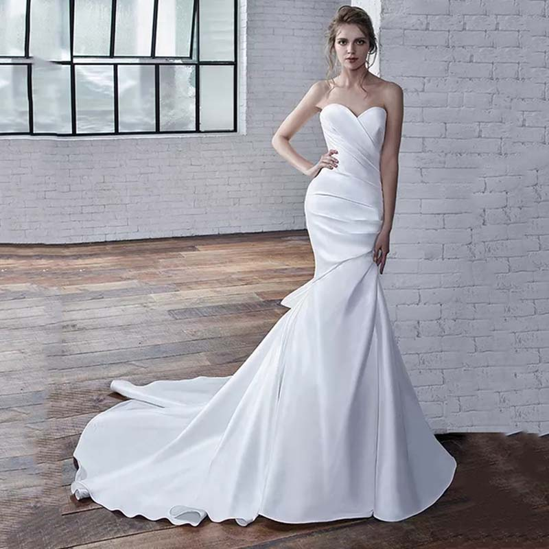 Eightree Full-length Mermaid Wedding Dress Strapless Sweetheart Neck Wedding Dresses Stretch Satin Bow Vestido de noiva Trumpet