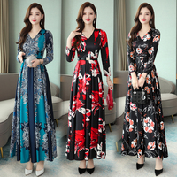 Autumn and Winter New Slim Floral Maxi Dress V neck Long Sleeved Party Dress Womens Clothing Fall Dresses for Women Red Blue