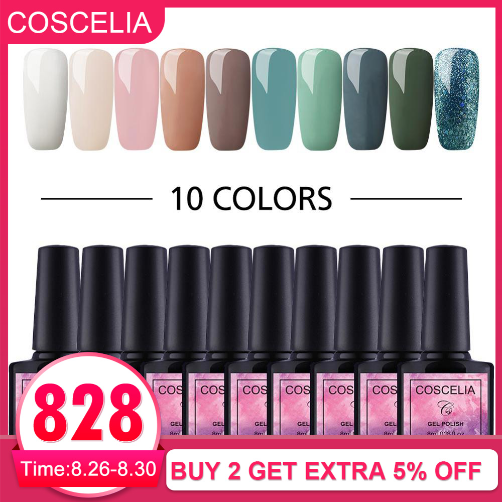COSCELIA Gel-Polish Varnish Long-Lasting-Manicure-Set Nail-Art-Gel Soak-Off 8ML UV Pure