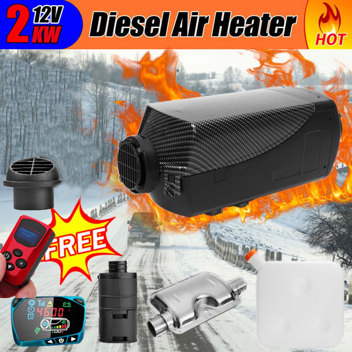 KAOLALI 2KW Air Diesels Heater Parking Heater 12V Diesel Parking Heater Set Monitor Parking Warmer Remote Control Display Fast Heating Car Heater/for RV Bus Trailer Motorhome and Boats Black Red