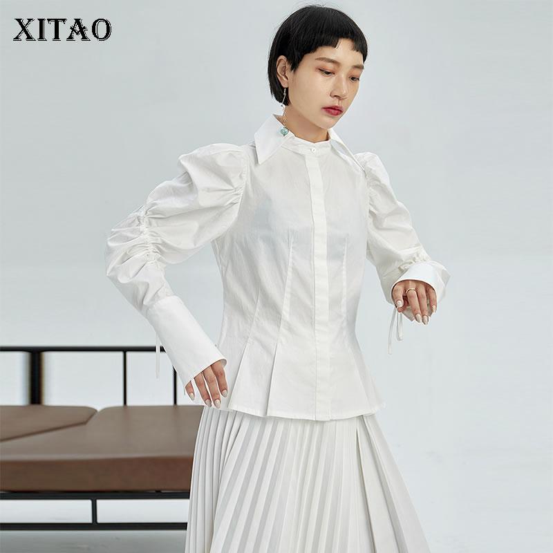 XITAO Simple cordon pansement Blouse blanc femmes décontracté lâche coréen personnalité plissé petit haut femmes automne nouveau DMY1156
