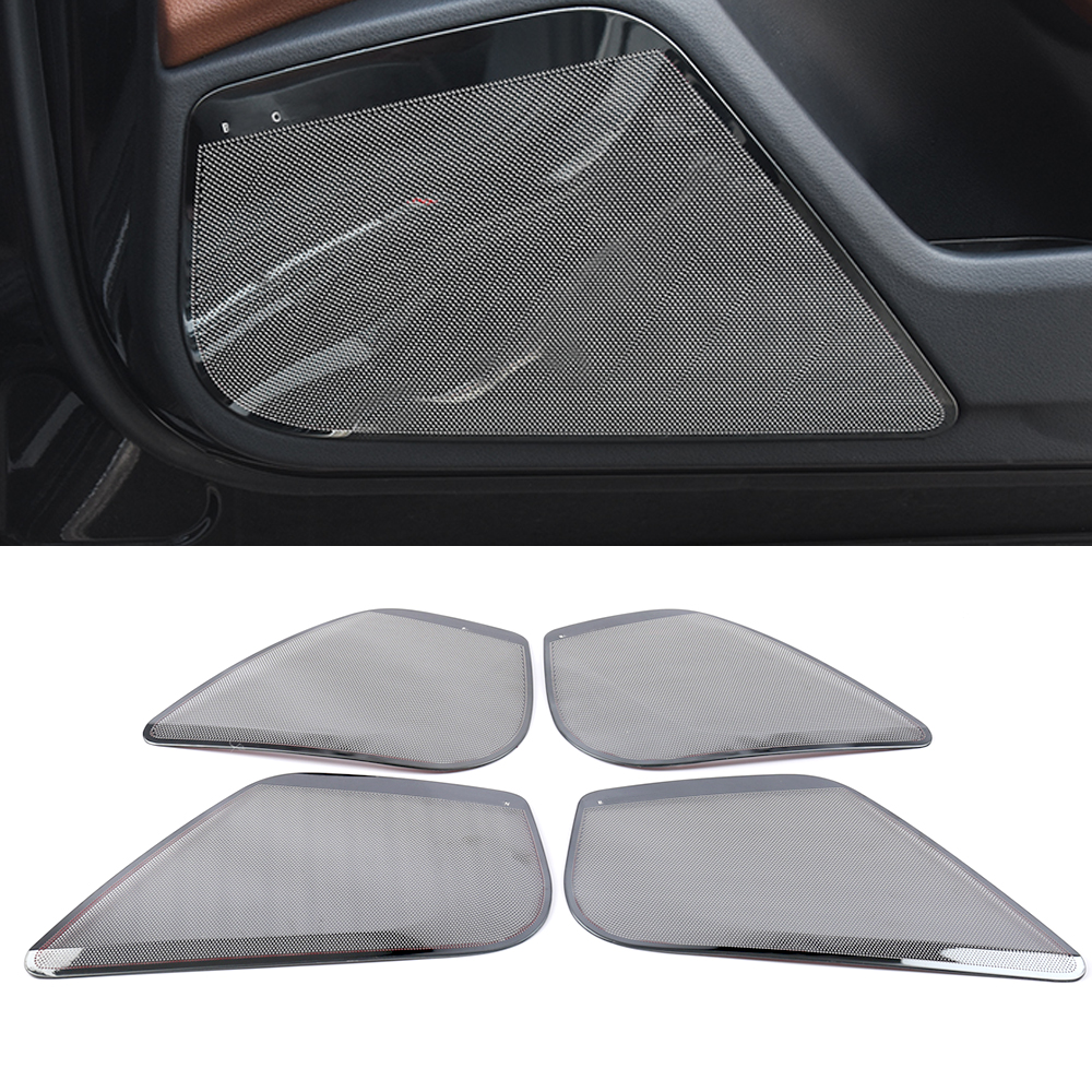 For Audi A6 C7 2010-2019 Car Styling Door Loudspeaker Sound Chrome Pad Speaker Cover Trim Frame Sticker Interior Accessories
