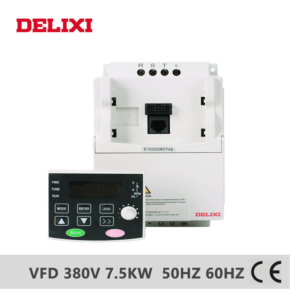 DELIXI E102 AC 380V 7.5KW three phase output VFD Frequency Converter for motor speed 50HZ 60HZ Adjustable frequency inverter