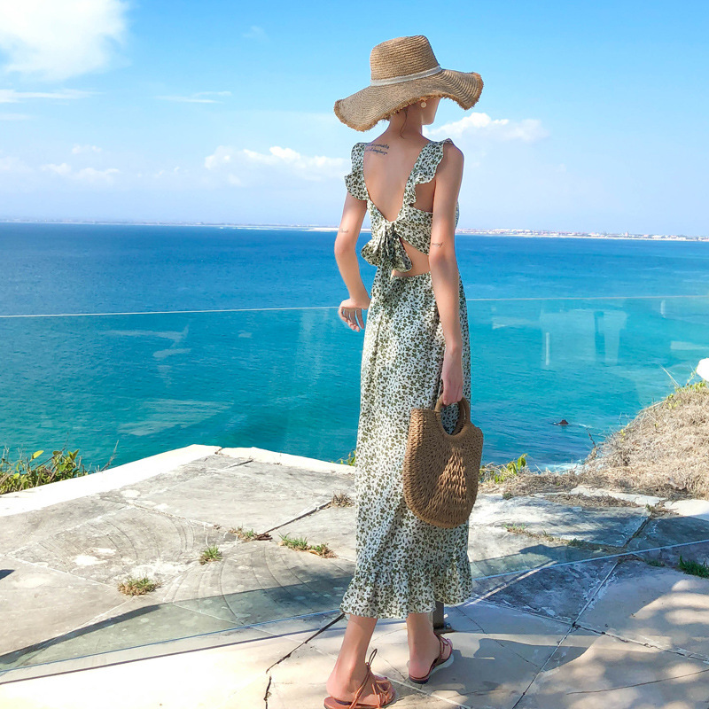 INS Super Fire Bali Beach Skirt 2020 New Style Immortal Backless Dress Women's Bohemian Seaside Holiday