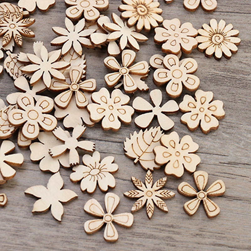 Home Decoration Hanging Ornament Accessory Painting Scrapbooking Craft Wooden DIY Plant Flower Shape Handmade 50pcs/100pcs