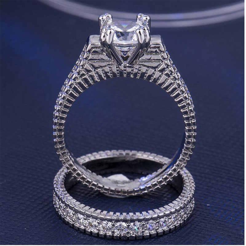 Anenjery高級シルバーまぶしい女性のための結婚指輪czモザイクジルコンリングanillos mujer S-R256