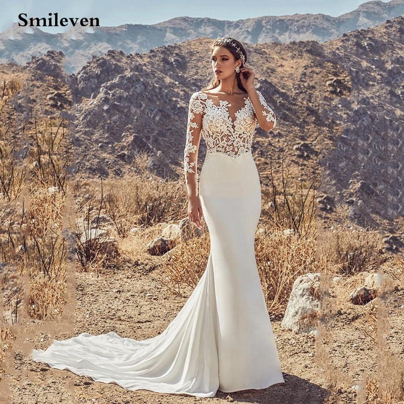 Smileven  Mermaid Wedding Dresses Long Sleeve Boho Appliques Lace Bride Dress Backless Wedding Gowns 2020 Vestido De Noiva