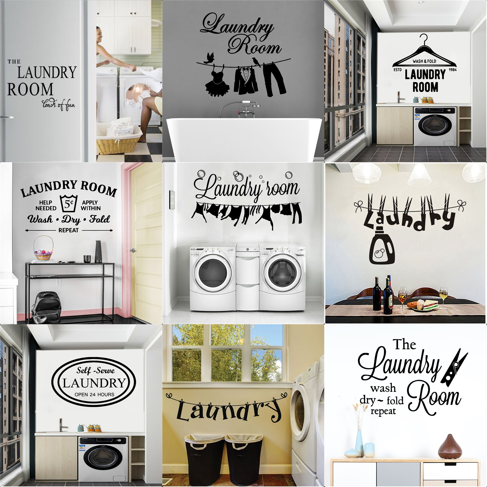 Laundry Room Decor Washing Quotes And Signs Wall Sticker Decoration For Washing Room Wc And Toliet Sticker Decor Accessories Wall Stickers Aliexpress