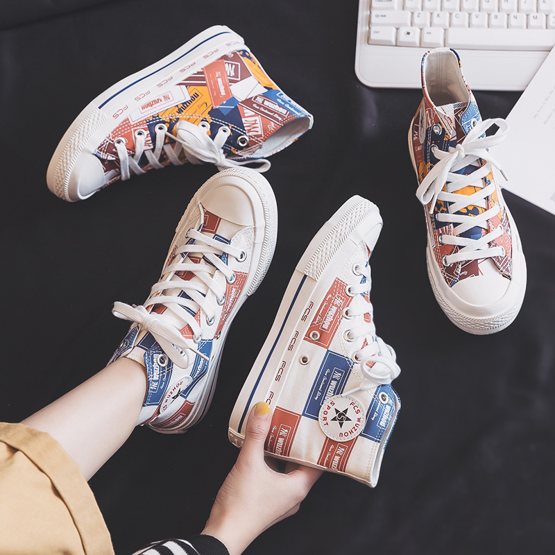 Women's Vulcanize Shoes Cartoon Canvas Women's Shoes 2020 New High-topTrend Flats Sneakers Casual Comfortable Sneakers Female