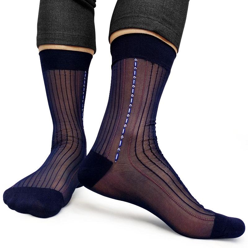 4 Pairs Men Ultra Thin See Through Elastic Silky Sheer Crew High Stretchy Socks