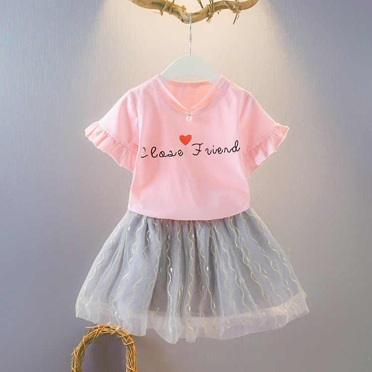2020 da criança da menina roupas de verão carta manga curta t-shirts + saias 2 pçs infantil roupas crianças bebes jogging ternos fatos de treino