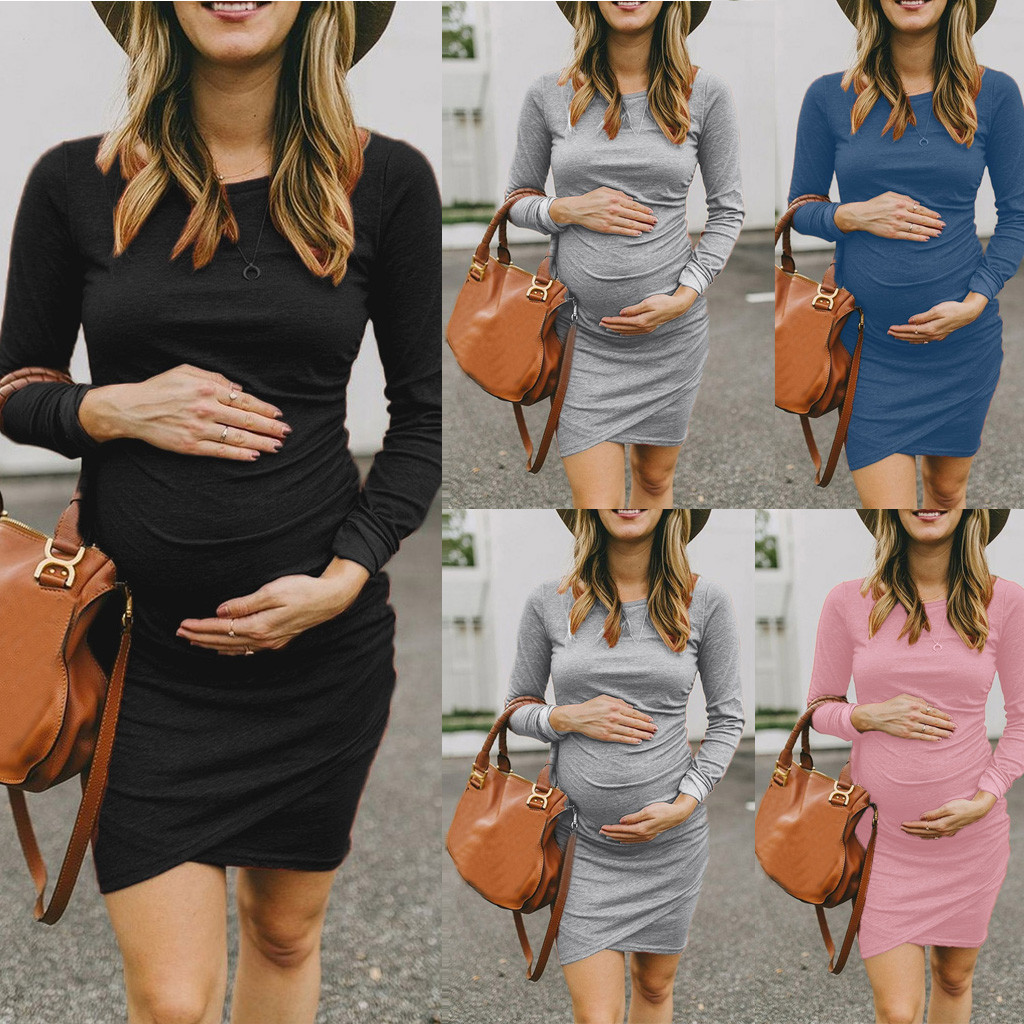 Pregnancy Dress Women Long Sleeve Bodycon O-Neck Irregular Solid Sexy Dresses Premama Maternity Dresses For Photoshoot Plus Size