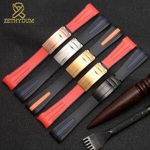 Image 5 - 高品質シリコーンゴムブレスレット 20 ミリメートル 22 ミリメートル時計バンド曲線エンドスポーツウォッチ折るバックルリストバンドベルト黒赤色