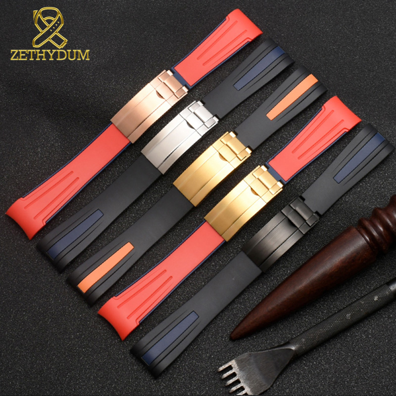 Image 5 - High quality Silicone Rubber bracelet 20mm 22mm watchband curve end sport watch strap fold buckle wristband belt black red color-in Watchbands from Watches