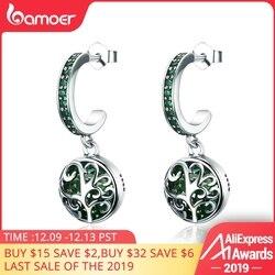 Bamoer venda quente 100% 925 prata esterlina verde árvore de cristal da vida folhas da árvore brincos gota para a moda feminina jóias sce280