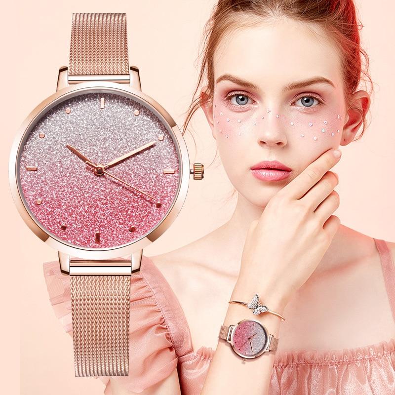 Women Romantic Starry Sky Wrist Watch Leather Rhinestone Clock Luxury Women Watches