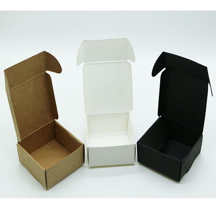 100 pièces/lot-Papier Blanc Vierge Boîtes Parti Intelligente Petite Taille Artisanat Cadeau Attache Boucles d'oreilles Avion Boîtes En Carton
