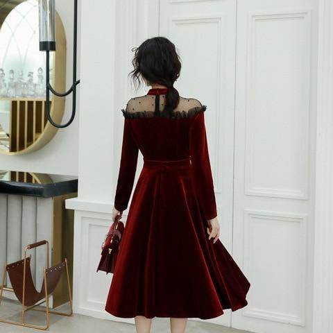 Red Sexy Evening Dresses Women Vintage Long 2019 New Elegant A-Line Evening Dress Formal High-Neck Evening Gown Dress ES1304 Karachi