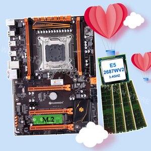 Скидка материнская плата combos huanzhi X79 материнская плата с M.2 NVMe SSD Слот Процессор Intel Xeon E5 2687W V2 RAM 64G (4*16G) 1866 RECC