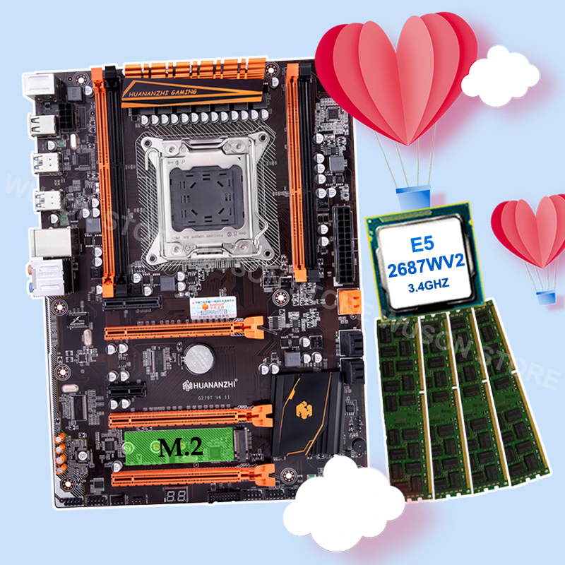 Discount Motherboard Combos HUANANZHI X79 Motherboard With M.2 NVMe SSD Slot CPU Intel Xeon E5 2687W V2 RAM 64G(4*16G) 1866 RECC