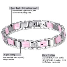 Pink Ceramic Crystal Bracelets Bangles for Women Charm Luxur