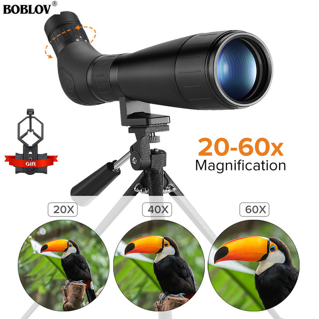 BOBLOV B60HD 20 60X60 Spotting kapsamı su geçirmez BAK4 prizma + telefon dağı ile Tripod hedef çekim için