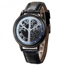 Fashion Men Led Watches LED Touch Screen Tree Pattern Simple Black Dial 60 Blue Lights relogio masculino