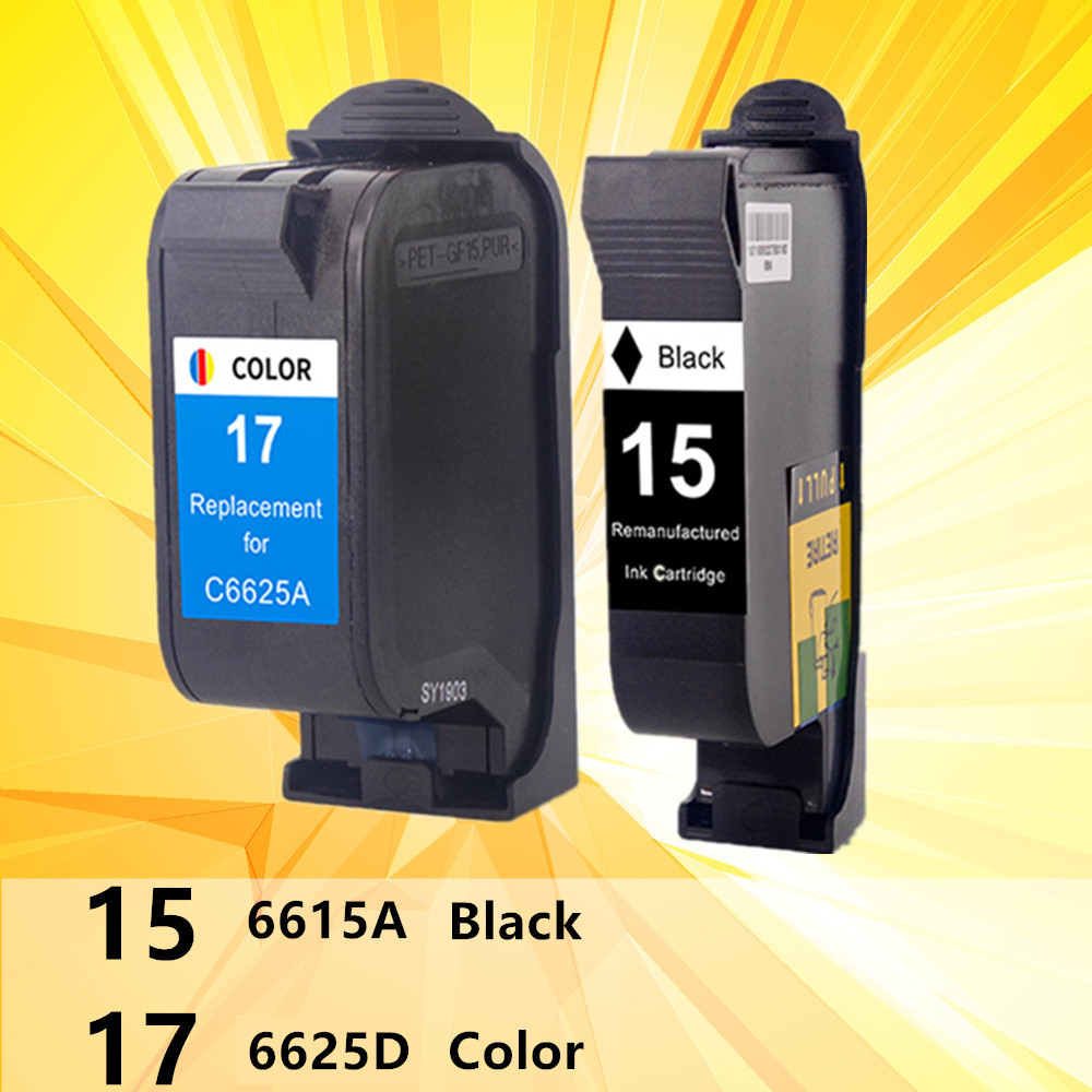 For 15 17 XL HP15 HP17 Ink Cartridges Remanufactured 15XL 17XL C6615A C6625A Deskjet 816c 825c 840c 841c 842c 843c 845c Printer