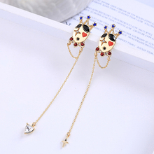 2019 Cute Clown King Crown Red Blue Crystal Long Earrings For Women Gifts Ear Pin Accessories